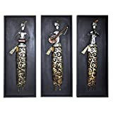 Indian Hand Art Musician Showpiece Iron Wall Decor Wood Frame 30 X 12 X 2 Inch Set Of 3 Multi Color Mother's Day...