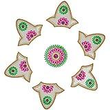 Nandini Acrylic Selfie Decorative Rangolis (9 Cm X 11 Cm X 1 Cm, Green & Pink)
