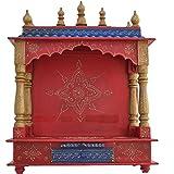 Home Temple/ Wooden Temple/ Pooja Mandir / Mandir / Mandap JORD712 WITH BULB INSIDE FREE GIFTS PUJA THALI GOD...