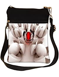 Snoogg Crystal Red Circle Cross Body Tote Bag / Shoulder Sling Carry Bag