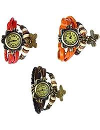 Felizer Vintage Multi Strap Fancy Butterfly Bracelet Watch For Women & Girls (Red, Brown & Orange) - (Pack Of 3)