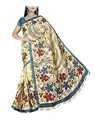 Shree Balaji Syntheticas Women's Cotton Self Print Saree (Multi-Coloured)