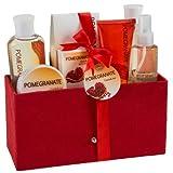 Pomegranate Bath Spa Gift Set In Red Velvet Rich Box