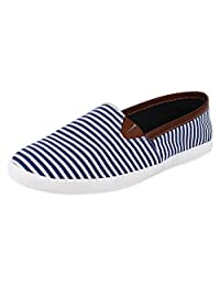 Hirolas Men Stripes Slip-ons - Blue