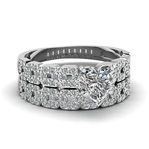Fascinating Diamonds 1.30 Ct Heart Shaped Cut:Very Good Diamond Engagement Bridal Rings Pave Set SI2 GIA