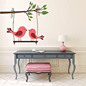 DeStudio Two Birds On Branch, Multi Color, Wall Stickers (Wall Covering Area : 120cm X 110cm)-11456