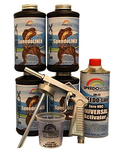 T-Rex Black Bed Liner, 2K Urethane, SMR-1000-K4 Truck Bedliner w/Free Spray Gun