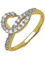 Silver Selection 1.50 Grams White Cubic Zirconia Gold Plated Brass Ring For Women Size 7 - B00F2B8AZE