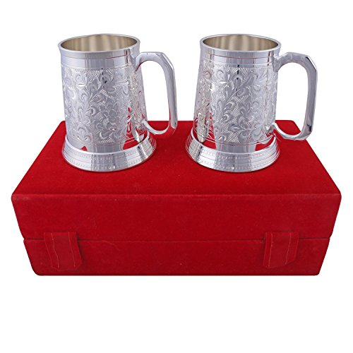 Hand-e-Crafts Silver Plated Brass Beer Mug Set Of 2 Pieces