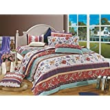 Bianca Chantal Cotton Double Bedsheet With 2 Pillow Covers - Aqua And Purple