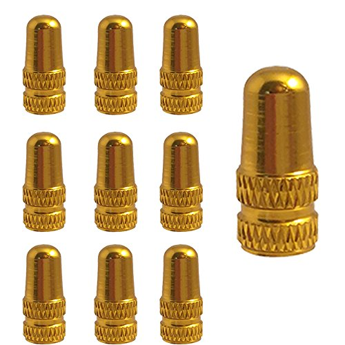 Moxie 10pc Bike Bicycle Road Racing Colored Gold Presta Valve Cap Dust Covers