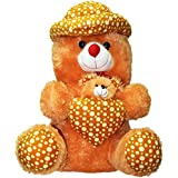 Teddy Bear With Heart And Baby Bear Golden Brown 112cm Tall