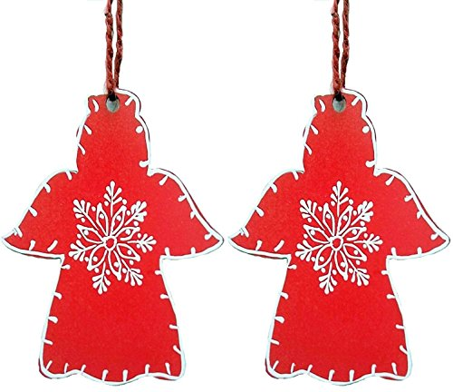 Purpledip Wooden Christmas Angels Hangings Set Of 2 (4 Inches)