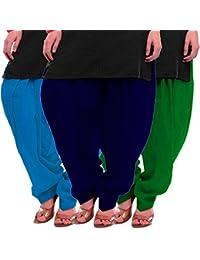 Women's Sky-Blue-Green Cotton Patiala Salwar