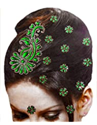DollsofIndia Golden And Green Color Stone Studded Stick-on Hair Decoration (Can Be Used On Other Parts Of The...
