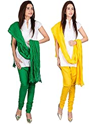 Womens Cottage Combo Pack Of 2 Pure Cotton Chudidar & Cotton Dupatta With Lace Set - B01G1GJMVO