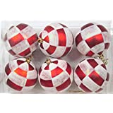 Queens Of Christmas WL-ORN-6PK-PLD 6 Pack Ball Ornament With Plaid Design, Red/White