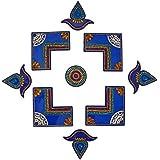 Rangoli (54 Cm X 32 Cm X 2 Cm , Blue, Pack Of 9)