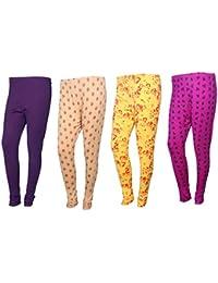 IndiWeaves Womens Cotton Churidar Leggings Combo Pack(Pack Of 3 Printed Leggings And 1 Solid Leggings)-Multicoloured-Free... - B07419S1Y1
