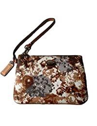 Coach Peyton Brown Floral Coated Canvas Leather Wristlet 51753