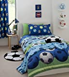 Football Double Duvet Cover & Curtains Bedding Set Blue