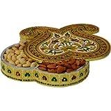 JaipurCrafts Double Kairy Aluminium, Wooden Decorative Platter (Multicolor)