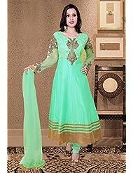 Utsav Fashion Women's Light Teal Green Art Silk And Net Readymade Anarkali Churidar Kameez-X-Small