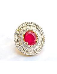 Ruby Diamond Cocktail Ring - B00JBNCXQG