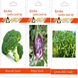 Alkarty Broccoli, Brinjal And Green Chili Seeds Pack Of 20