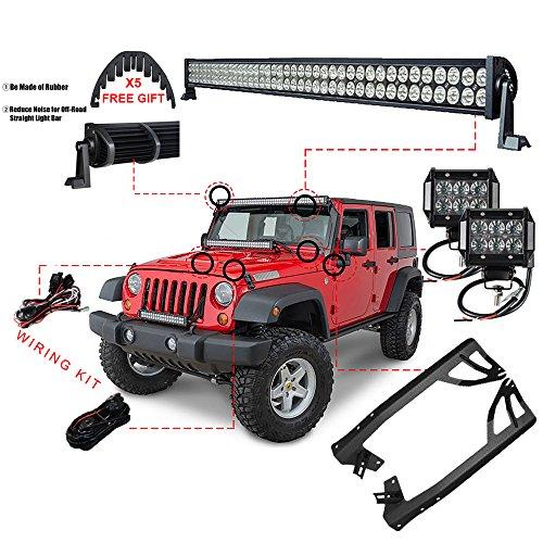 Racbox 1 X 52inch 300W + 2 X 4″18W LED Light bar + Windshield Mounting Brackets for Jeep JK Wrangler
