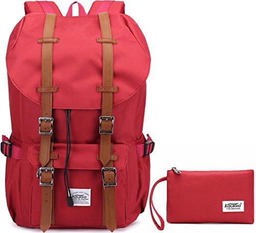 KAUKKO Sac à dos Mince Etanche Combinaison des Sacs avec 2 Poches Latérales en Nylon Voyage/Randonnée/Portable Sac Cartable Rouge[2PCS]
