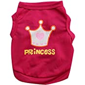 Imported Summer Princess Crown Pattern Vest Dog Clothes For Puppy Pet Dog Red Size XS