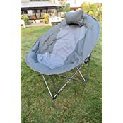 """""""Amaze"""" Folding Camping Trekking Hiking Picnic Outdoor Portable Moon Chair With Carry Bag (Grey)"""