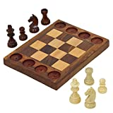 Wooden Tic Tac Chec Board Game For Kids 7 And Up 6.75 X 5 Inches