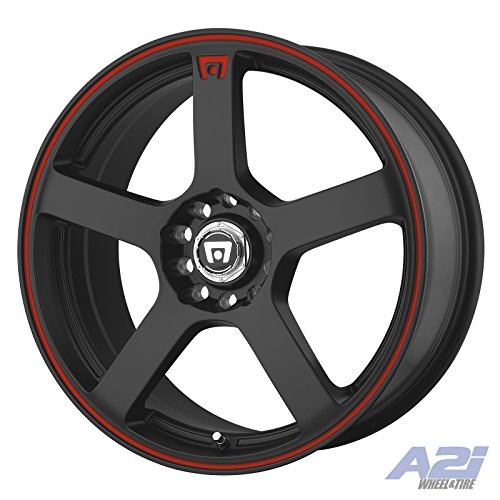 Motegi Racing MR116 Matte Black Wheel With Red Racing Stripe (17×7″/5×100, 114.3mm, +40mm offset)