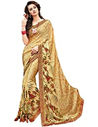 Shangrila Designer Gold Colour Satin Lace Border Saree Design