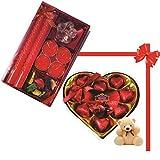Skylofts 9pc Heart Shaped Chocolate Box With A Cute Teddy & A Beautiful Candle Diya Set Diwali Combo