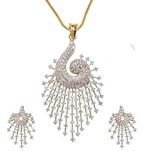 Sheetal Jewellery Silver & Golden Brass & Alloy Pendant Set For Women - B00TIH03NK