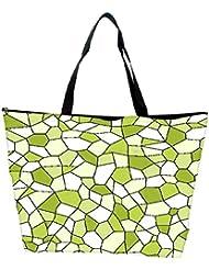Snoogg Abstract Green Blocks Pattern Designer Waterproof Bag Made Of High Strength Nylon