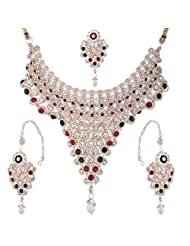 Bel-en-teno Red & Green Alloy Necklace Set For Women - B00PY9YVMU