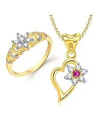 VK Jewels Beautiful Flower Combo Ring & Pendant- COMBO1120G [VKCOMBO1120G]