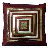 Fashion Home Poly Dupion With PU Square Design Embellishment Premium Cushion Cover Set Of 5