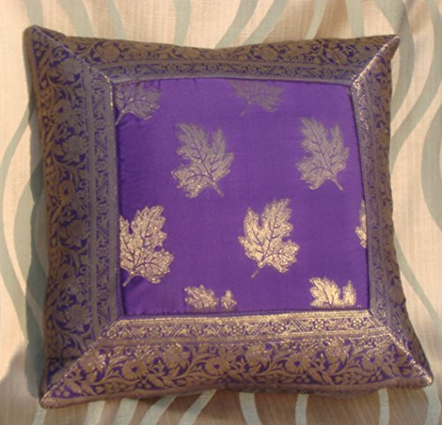CRAFT OPTIONS SILK BROCADE WITH CENTRE LEAF CUSHION COVER (PURPLE COLOR)