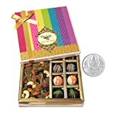 Chocholik Belgium Chocolates - Yummy Chocolate Box With Dry Fruits With 5gm Pure Silver Coin - Gifts For Diwali