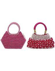 Virali Rao Women's Hand-held Bags Combo, Pink, Pink
