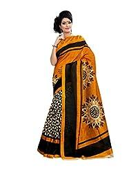 Anu Designer Self Print Saree (6406A_Multi-Coloured)