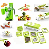 Accura 11 In 1 Vegetable Cutter + Juicer With Waste Collector, Steel Handle And Vacuum Base + Apple Cutter With...