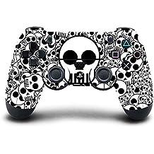 Elton PS4 Controller Designer 3M Skin For Sony PlayStation 4 , PS4 Slim , PS4 Pro DualShock Remote Wireless Controller (Set Of Two Controllers Skin) - Skulls ( B&W )