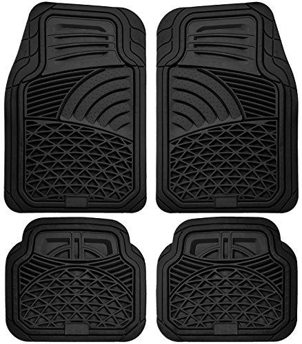 OxGord 4pc Set Tactical Heavy Duty Rubber Floor Mats – Black