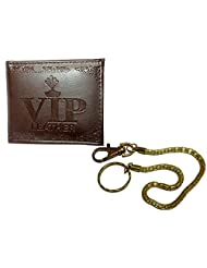Apki Needs Designer And Stylish Brown Mens Wallet And Golden Chain Keychain Combo